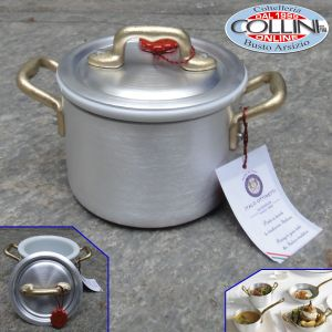 Made in Italy - Pot 2 aluminum handles with ceramic bowl cm . 10 - LE PICCOLE