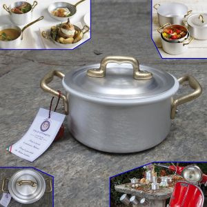 Made in Italy - Casserole 2 handles in aluminum with ceramic bowl cm. 12 - LE PICCOLE