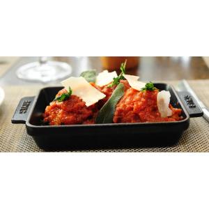 Staub -  Rectangular Serving Dish w/ Wooden Plate, Black Matte, 15 x 9 - Black Matte