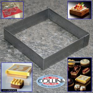 Pavoni - Square micro perforated stainless steel band 15x15cm - PROGETTO CROSTATE - XF151535