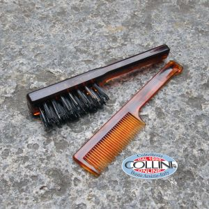 Dr. K Soap Company - Military Brush per Barba e Pettinino per Baffi - Set spazzola barba e pettine
