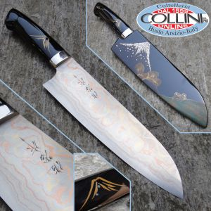 Takeshi Saji - Santoku Kitchen Chef with Maki-e Art - kitchen knife