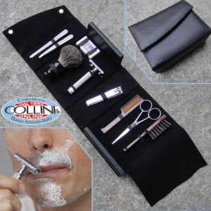 Set Groome & Shave - vanity case leather accessories for care and shaving beard