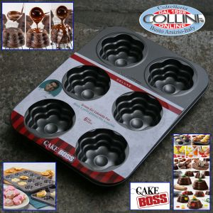 Cake Boss - non-stick baking tray for mini cakes with 6 molds in the shape of flower