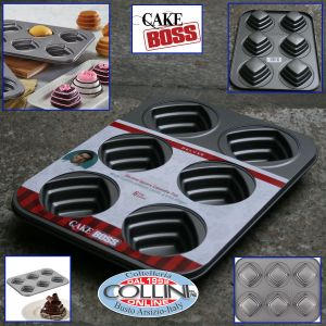 Cake Boss - non-stick baking tray for mini cakes with 6 molds shaped square