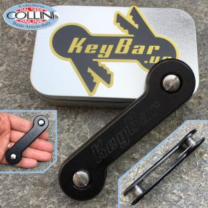 Key-Bar - Black Anodized - Key ring in aluminum with titanium clips - BLK-ANOAL2