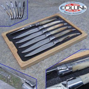 Laguiole en Aubrac - Steak Knives 6-Piece Set with Solid Horn Handle