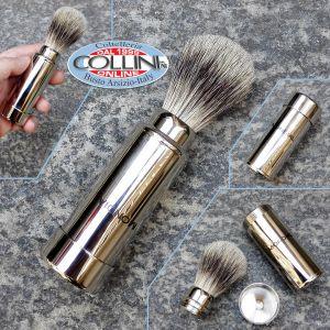 Mondial - Travel shaving brush mad of badger hair - Inox - 40352 - Shaving