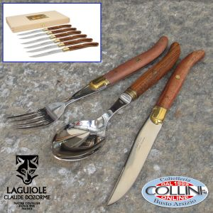 Claude Dozorme Laguiole -  18-piece set of tableware with Bee Exotic Wood Handle