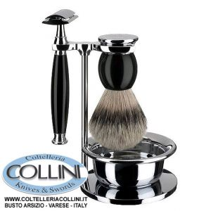 Muhle - Set da barba 4pz Sophist con ciotola - manico color nero