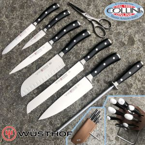 Wusthof Germany - Ceppo Coltelli 9 Pezzi - Frassino Nero - 9844 - coltelli cucina