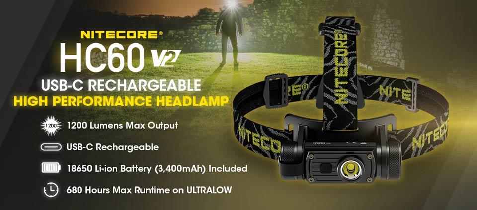 NITECORE HC60 V2 Upgraded USB-C Rechargeable High Performance Headlamp